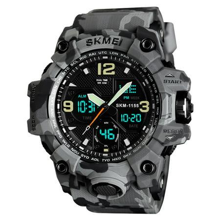 SKMEI 1155B Quartz Digital Electronic Men Watch Fashion Casual Outdoor Sports Male Wristwatch Dual Time Date Week Chrono Alarm 5ATM Waterproof Luminous Multifunctional Watches Relogio