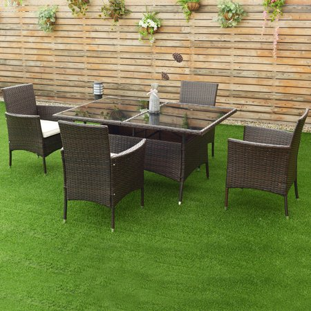 Costway 5pcs Rattan Garden Sofa Set Outdoor Patio Furniture Table Chair With Cushion