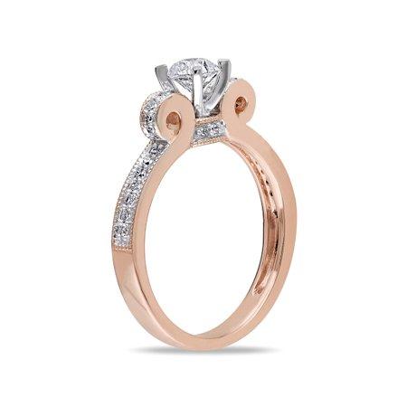 1/2 Carat (ctw G-H, I2-I3) Diamond Engagement Ring 14K Rose Pink Gold - image 3 de 4