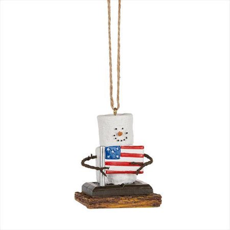 Smores Snowman AMERICAN FLAG Patriotic USA Christmas Ornament, by Midwest CBK (Patriotic Christmas Ornaments)
