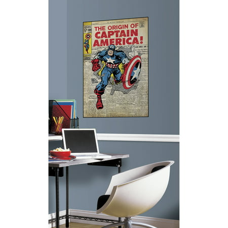 RoomMates Comic Book Cover, Captain America Peel and Stick Comic Cover