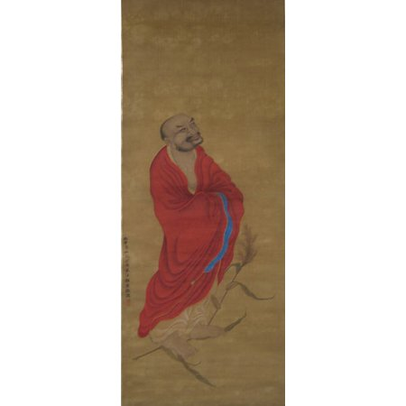 Old Bodhidharma Crossing River On Reed Poster Print By Zheng Zhong  Chinese Active Ca 1612   1648   18 X 24