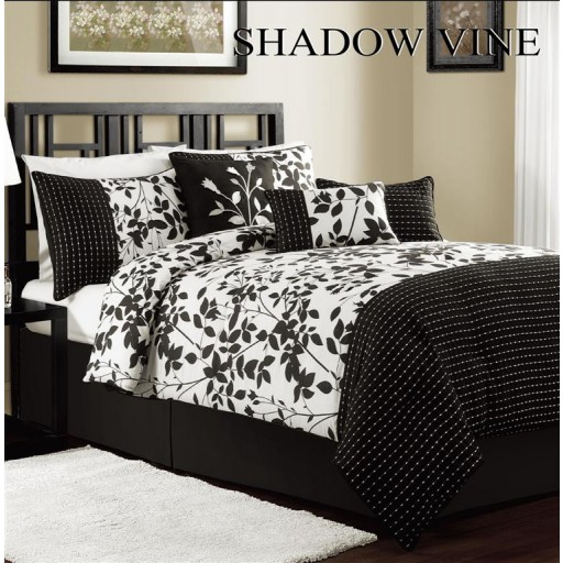 11pc S.V. Black/White Luxury Bed-in-a-Bag