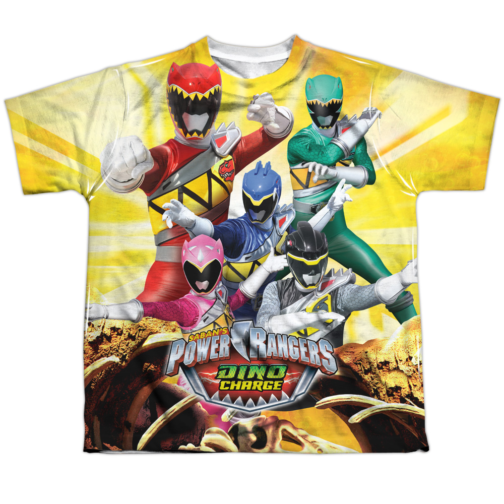 Power Rangers Men's  Charged For Battle Sublimation T-shirt White