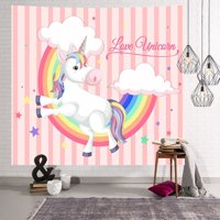 KABOER Unicorn Photo Background Cloth Tapestry Beach Towel - Photography Background Suitable for Birthday Baby Shower Rainbow Unicorn Party Supplies