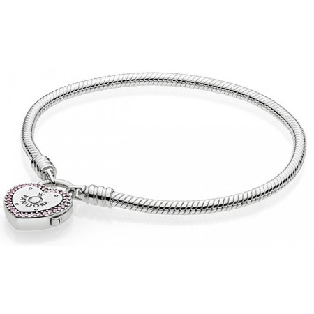 Lock Your Promise Bracelet - Fancy Fuchsia Pink & Clear CZ -