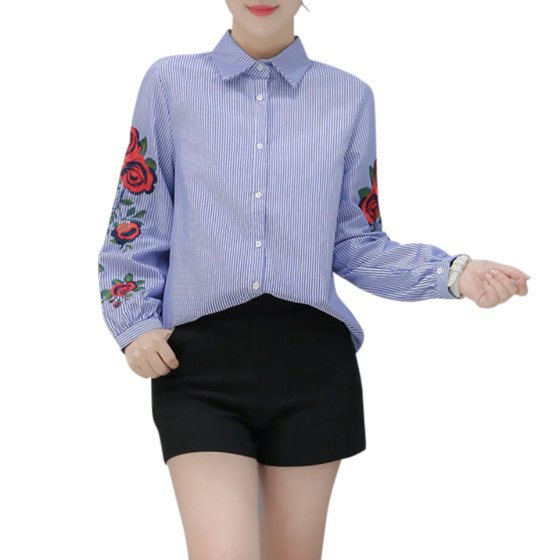 b2887930f3cd4c EFINNY - EFINNY Elegant Women Embroidered Casual Long Sleeve Office ...