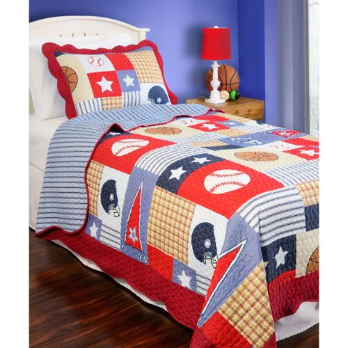 Slumber Shop Sports Arena Reversible 3-piece Quilt Set Full