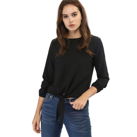 Women's Casual Knot Tie Front Loose Long Sleeve Tops Black M (Black Tile Top)
