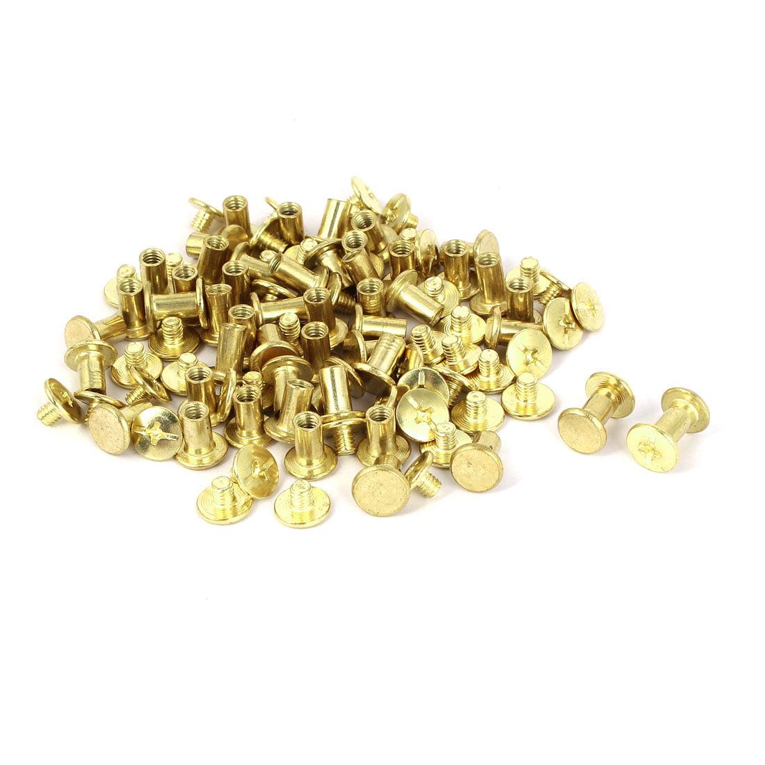 Uxcell Brass Plated Chicago Screws Binding Posts Docking Rivet 5mmx8mm (50-pack)