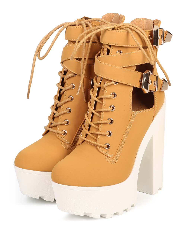 e8458374d1 Wild Diva - Wild Diva DE20 Women Nubuck Lug Sole Chunky Heel Cutout Boot -  Walmart.com