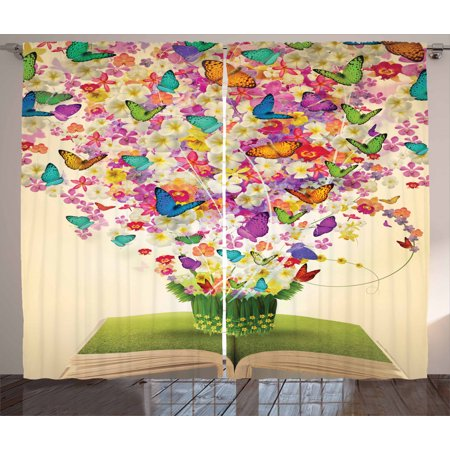 Modern Home Floral Decor Abstract Art Print Colorful Butterfly Curtain 2 Panels Butterfly Framed Panel Print