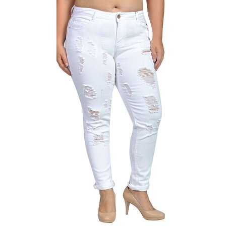 4424b2be1d3 Womens Stretch Pull-on Skinny Ripped Distressed Denim White Jeans -  Walmart.com