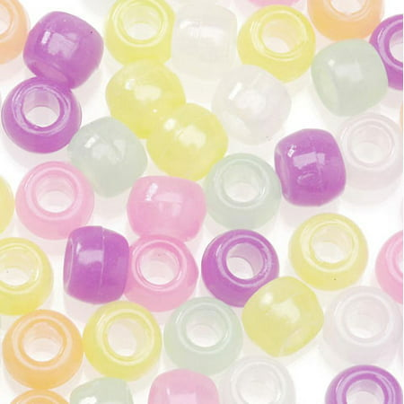 Pony Beads - Acrylic - Glow-in-the-Dark Colors - 9mm - 1 pound - Big Value