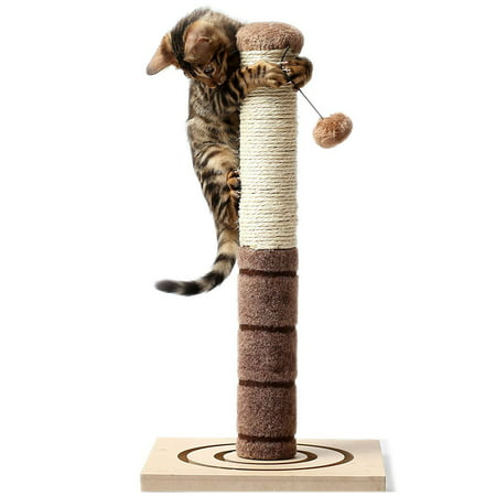 4 Paws Stuff Tall Cat Scratching Post Cat Interactive Toys - Cat Scratch Post Cats Kittens - Plush Sisal Scratch Pole Cat Scratcher - 22 inches