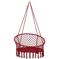 "Lazy Daze Hammocks Handwoven Cotton Rope Hammock Chair Macrame Swing with Wall/Ceiling Mount Set, 300 Pounds Capacity, 47"" Width, for Indoor, Garden, Patio, Yard, Red"