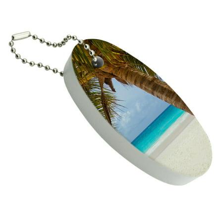 Tropical Palm Tree Ocean Beach Floating Foam Keychain Fishing Boat Buoy Key Float