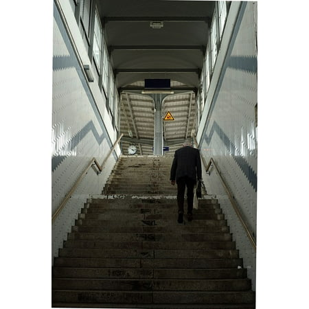 Canvas Print Stairs Building Railway Station Human Architecture Stretched Canvas 10 x 14 (Human Stairs)