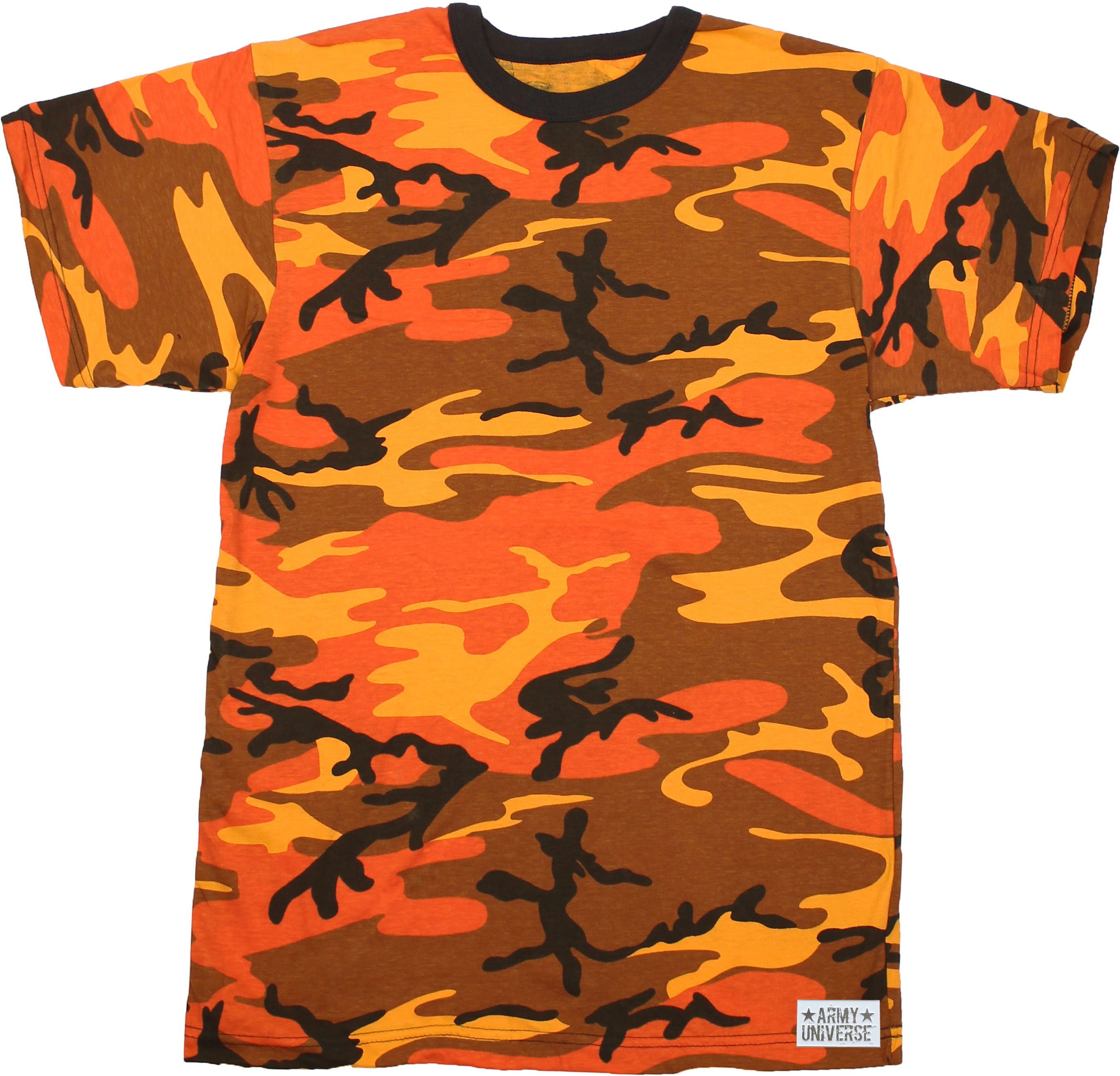 Army Universe - Orange Camouflage Short Sleeve T-Shirt with ARMY UNIVERSE  Pin - Size Small (33