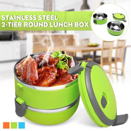 Large Insulated Stainless Steel Microwavable 2-Tier Lunch Box - Hot Food Meals and Beverages Thermal Container Storage – Portable Stackable Containers with Handle - Green Color