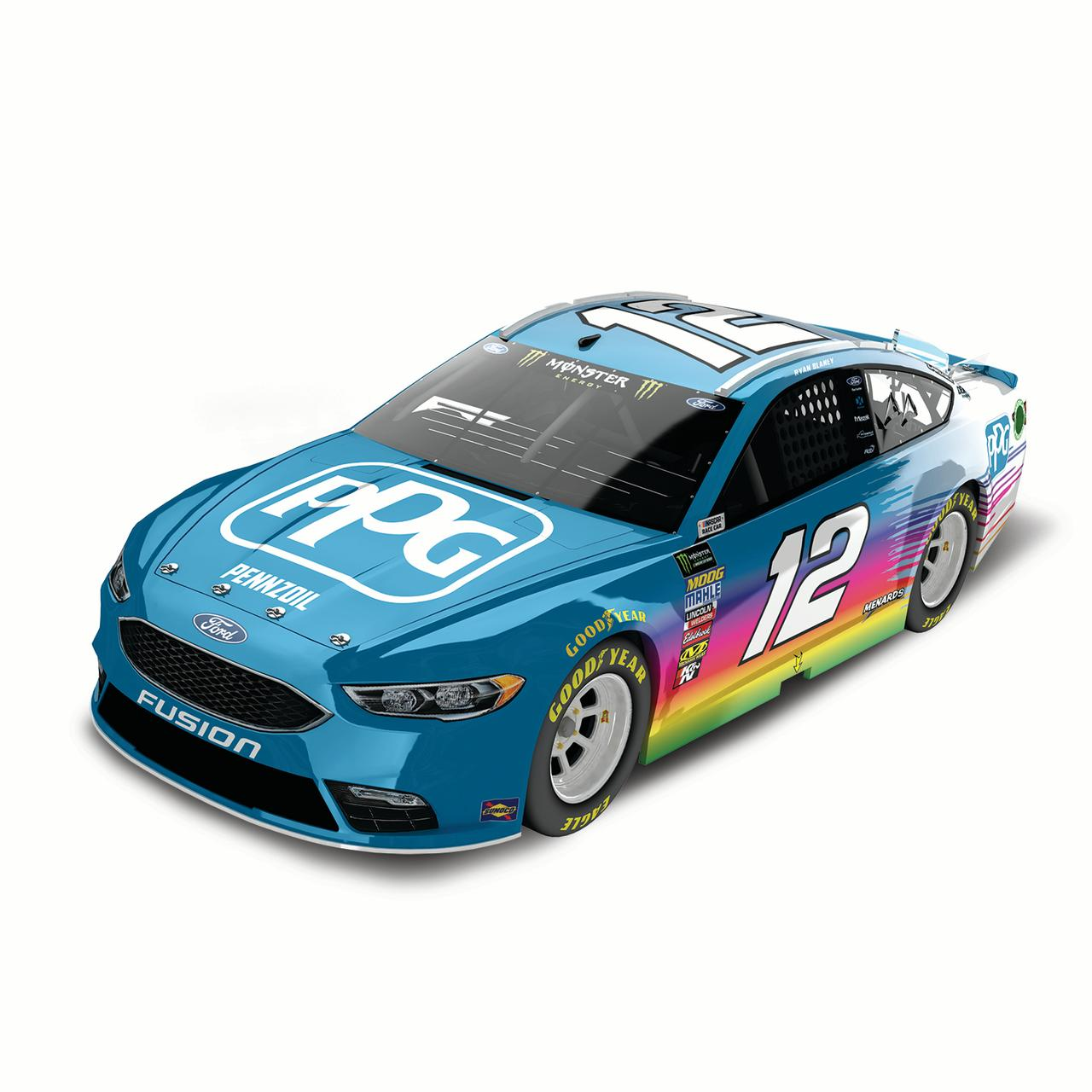 Lionel Racing Ryan Blaney #12 PPG Paints 2018 Ford Fusion 1:24 Scale HO Die-cast