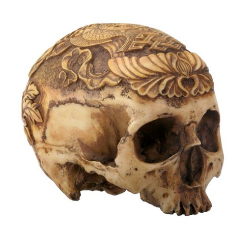 Natural Colored Human Skull with Carved Designs Halloween Figurine - Halloween Figurine
