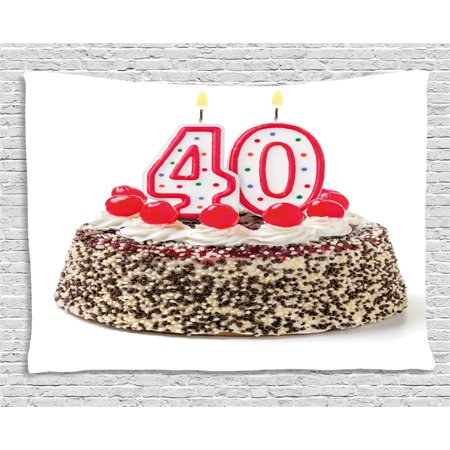 40th Birthday Decorations Tapestry Yummy Desert Sweet Party Cake Burning Number Candles Cherries Wall