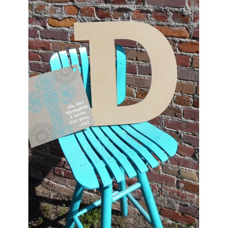 Wood Letter, Block Wooden Letter D 18'', Unfinished Wall (Hanging Wood Letters)