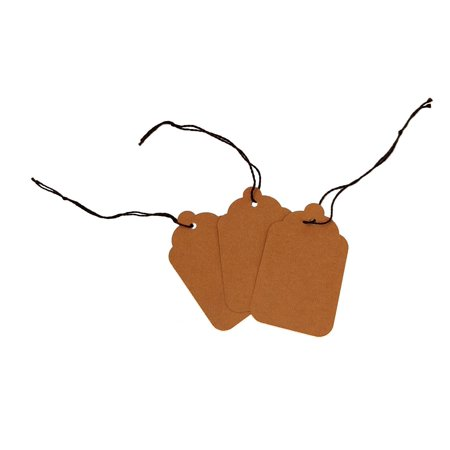 Blank Kraft Strung Merchandise Pricing Tags with String, Brown #8 Tags, 1.75