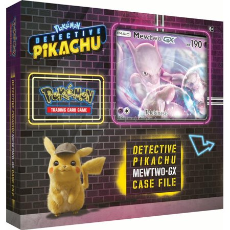 Detective Pikachu Pokemon Trading Cards- Mewtwo-Gx Case File + 6 Booster Pack + A Foil Promo Gx Card + A Oversize Gx Foil Card ()