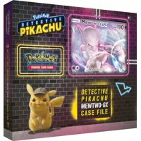 Detective Pikachu Pokemon Trading Cards- Mewtwo-Gx Case File + 6 Booster Pack + A Foil Promo Gx Card + A Oversize Gx Foil Card