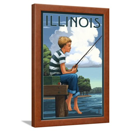 Illinois - Boy Fishing Framed Print Wall Art By Lantern