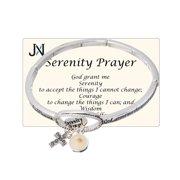 Serenity Prayer Engraved Cross & Mustard Seed Charm Stretch Bracelet