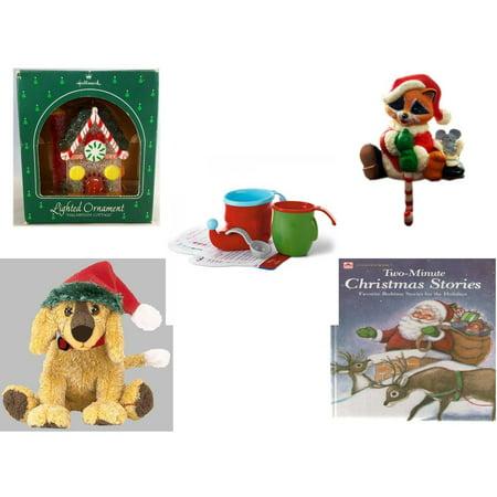 - Christmas Fun Gift Bundle [5 Piece] - Hallmark Sugarplum Cottage Lighted Ornament QLX7011 - Raccoon Santa Small Stocking Hanger - Hallmark Bake Like an Elf Kit with Recipe Cards - Ty Beanie Babies J