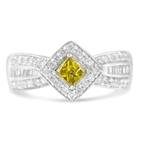 14K White Gold 1ct TDW Round, Baguette and Treated Yellow Princess Diamond Tapered Ring(H-I ,I1-I2) Princess Cut Tapered Baguettes