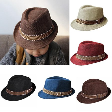 Obstce Unisex Kids' Fashion Cool Jazz Pitched Crown Short Brim Hat Cap Fedora Hat](Kid Fedora)