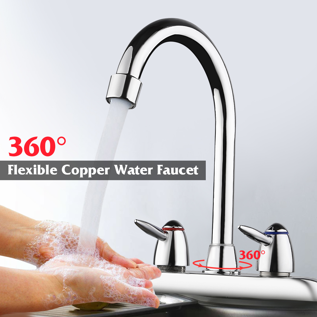 360° Stainless Steel 2 Handle/Hole Gooseneck High Spout Kitchen Bathroom Faucet Sink Cold and Hot Basin Faucet Spray Mixer Water Tap Bar Sink Faucet
