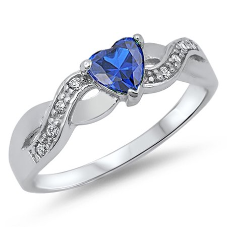 CHOOSE YOUR COLOR Blue Simulated Sapphire Infinity Knot Heart Ring .925 Sterling Silver Band (Blue Simulated Sapphire/Ring Size (Madagascar Blue Sapphire)