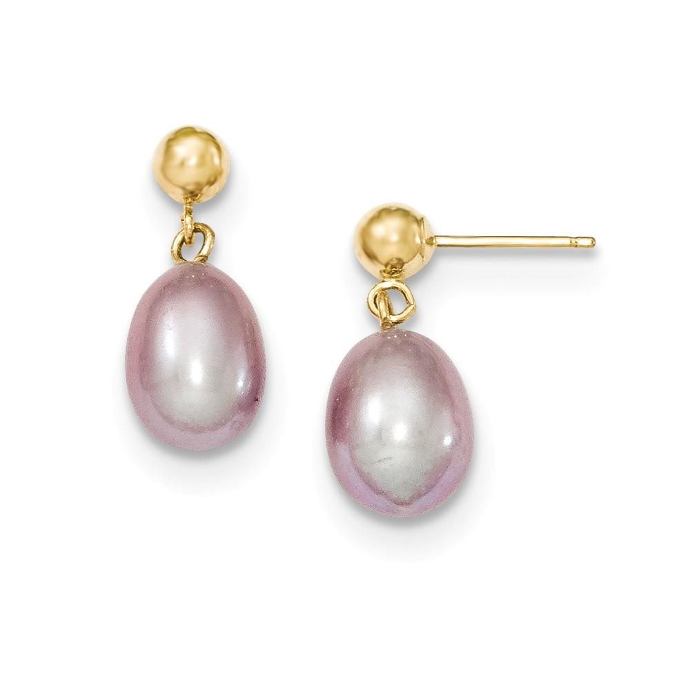 14k Yellow Gold 0.6IN Long 7-7.5mm Purple Freshwater Cultured Pearl Dangle Earrings
