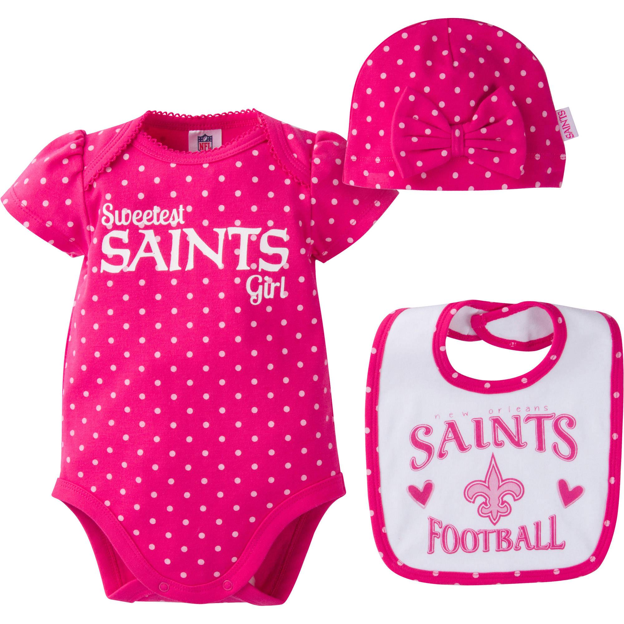 NFL New Orleans Saints Baby Girls Bodysuit, Bib and Cap Outfit Set, 3-Piece