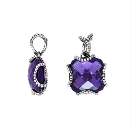 AP-6183-AM Sterling Silver Cushion Shape Pendant With Amethyst