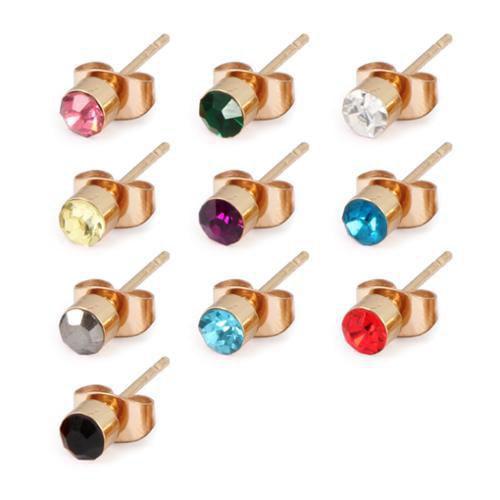 BMC 10pc Gold Alloy Mix Colored Rhinestones Womens Single Fashion Stud Earrings