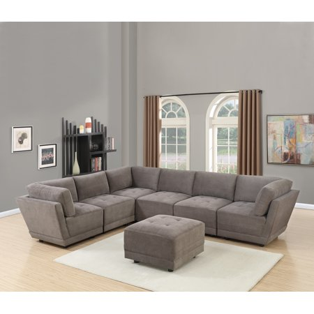 Living Room Furniture Charcoal Waffle Suede Fabric