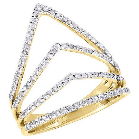 10K Yellow Gold Diamond Ladies Pointed Contour Fashion Right Hand Ring 0.40 (1/2 Ct Diamond Fashion Ring)