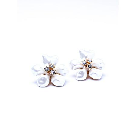 White Pearl Flower Clip Earrings
