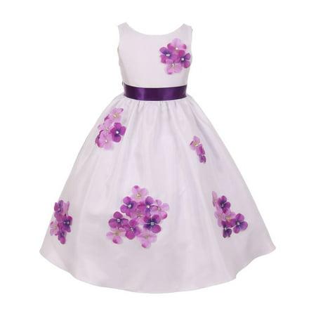 Kids Dream Little Girls Purple Shantung Flower Petals Special Occasion Dress 2-6 (Special Occasion Dresses For Little Girls)