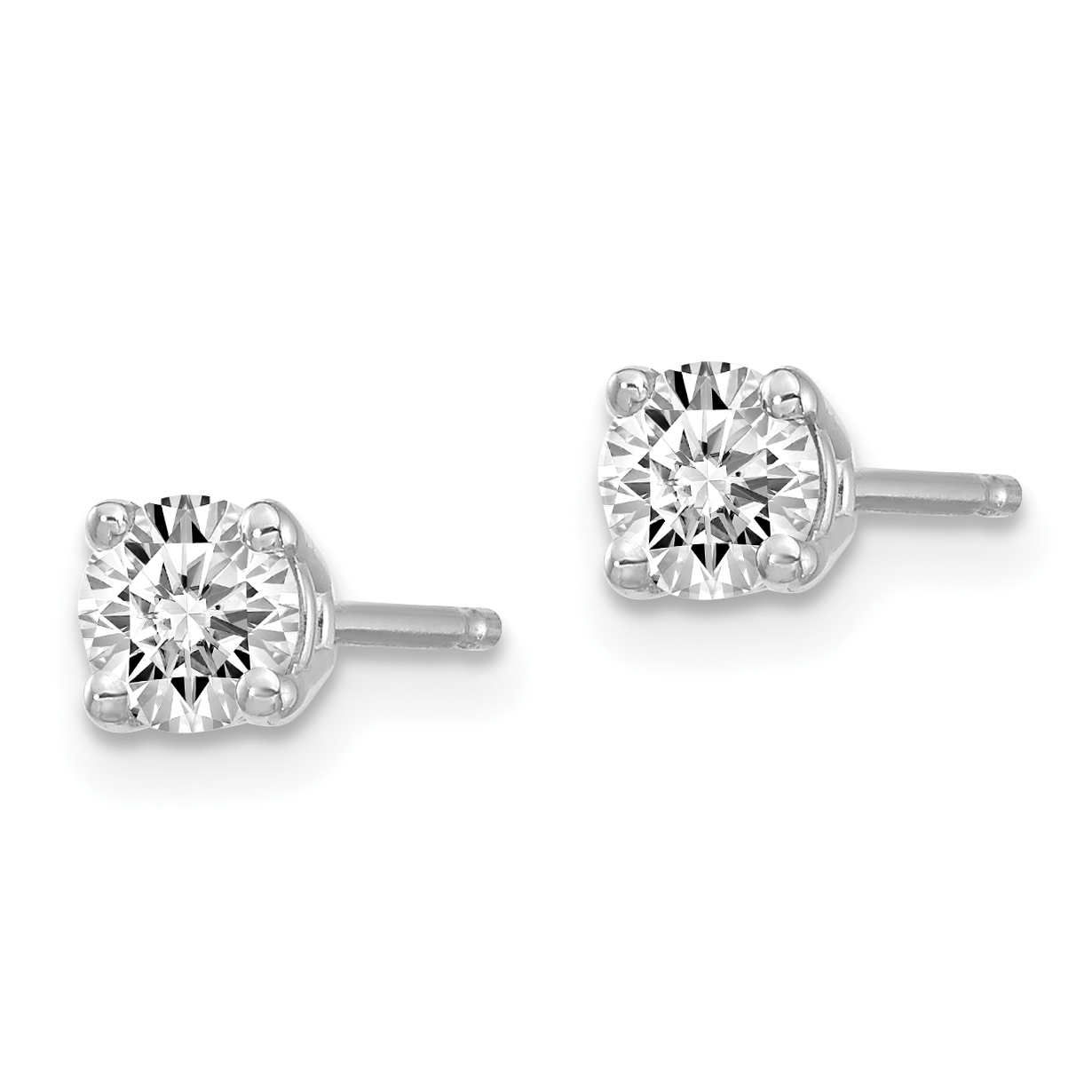 14k White Gold 1/3ctw Certified Vs/si Def Lab Grown Diamond 4 Prong Post Stud Earrings Fine Jewelry Gifts For Women For Her - image 1 of 2