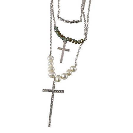 Christian Cross Necklace Beads Rhinestones 3 Piece Staggering