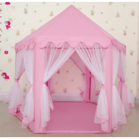 Gift for Your Kids Qiilu Portable Princess Castle Play Tent Kids Play Tents Indoor and Outdoor Foldable Children Playhouse For 1-10 Years Kids Toys with LED Lights Glow in the Dark Stars