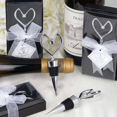 Silver Wedding Gift (Efavormart Silver Metal Heart Shaped Wine Bottle Stopper Wedding Favor With Velvet Gift)